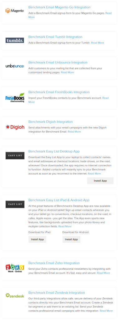 benchmark integrations